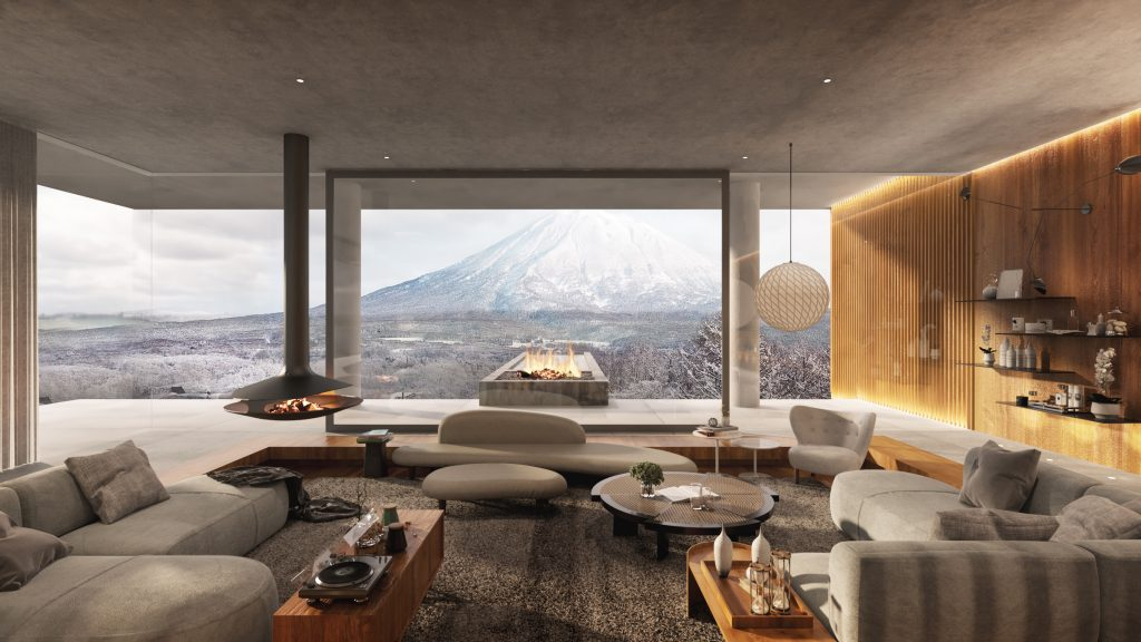 View of Mt. Yotei from The Pavilions Niseko Clubhouse Salon